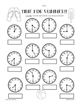 summer telling time practice worksheet pack hour half hour quarter hour school stuff. Black Bedroom Furniture Sets. Home Design Ideas