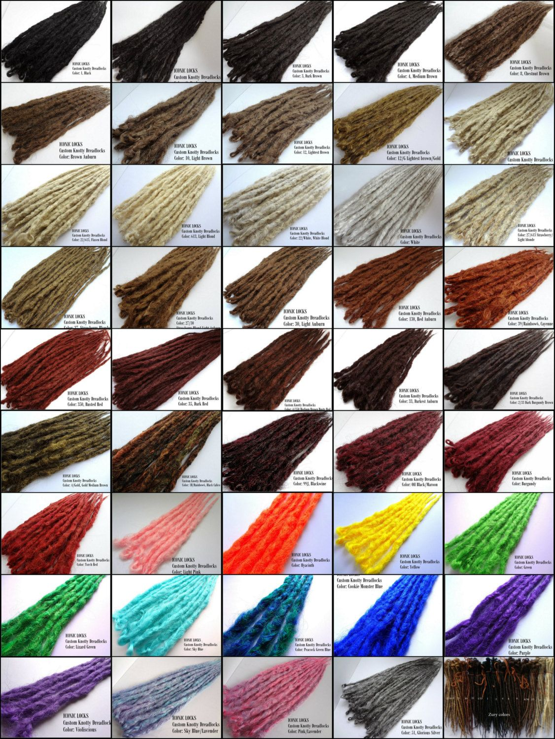 Color Reference Chart For Iconic Locks Dreadlock Extensions