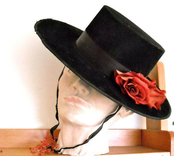 Vintage Black Flamenco Hat Mexican Gaucho By Greymaremercantile Spanish Hat Vintage Black Equestrian Outfits
