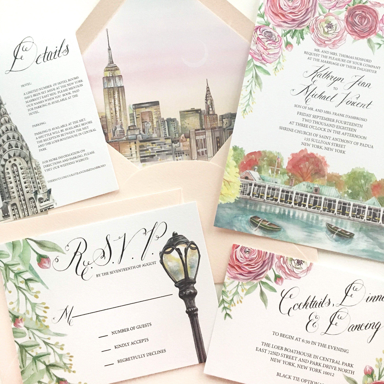 Custom Wedding Stationery New York City Watercolor Wedding Etsy Custom Wedding Stationery Park Wedding Invitations Painted Wedding Invitation