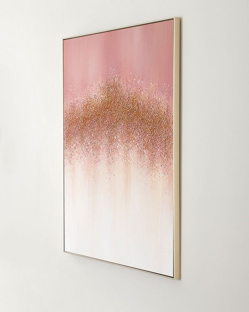 Pink Canvas Painting Modern Abstract Gold Leaf Acrylic Painting Pink White Oil Painting Oversize Wall Art Wall Pictures Cuadros Abstractos Oversized Wall Art Canvas Painting Abstract Canvas Painting