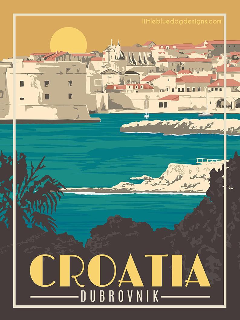 Croatia Dubrovnik – Vintage Travel Poster