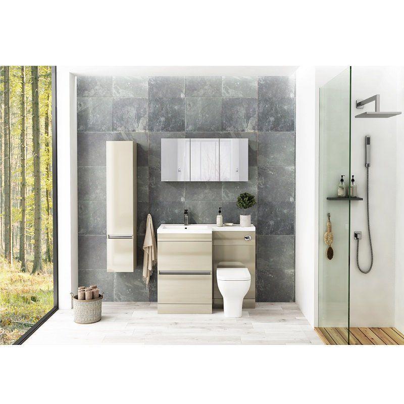 Pemberton L shape 2 drawer handleless bathroom Suite in ...