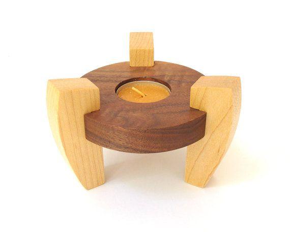 wood tea light candle holder maple and walnut minimalist modern style hand cut scroll saw on