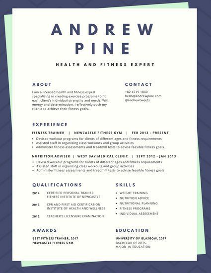 Modern Colorful Blue Zigzag Border Resume Resume Resume, Modern