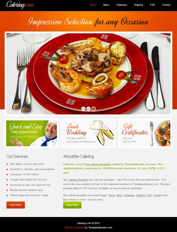 Website Template With Jquery Slider For Food Delivery Project