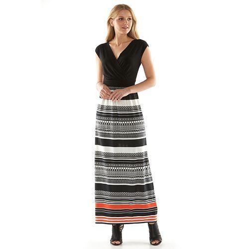 AB Studio Striped Surplice Maxi Dress - Women's