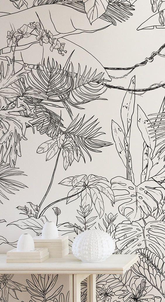 Papier Peint Jungle Tropical Noir Blanc Pour Ohmywall Cree Par Le