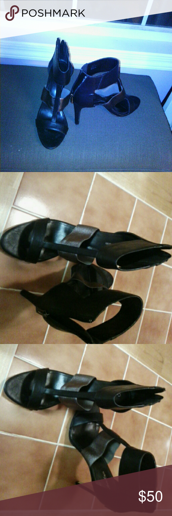 Calvin Klein Black and shimmer color grey 4 inch Calvin Klein heels.  Only worn once. Calvin Klein Shoes Heels