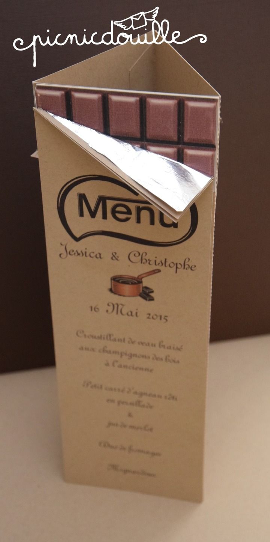 Top Menu pour mariage thème chocolat : Faire-part par picnicdouille  WL91