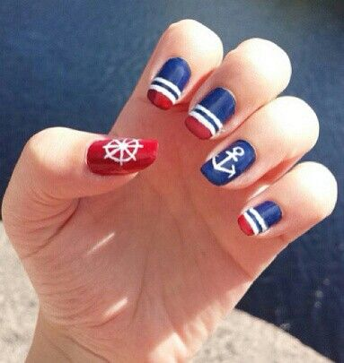 Nautical Nail Art … | Pinteres…
