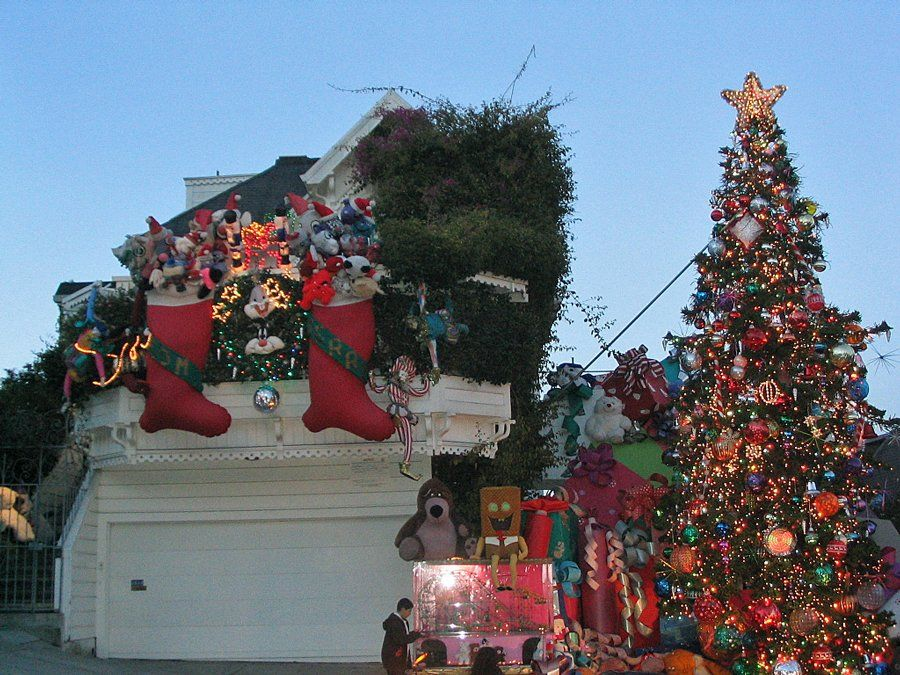 This house on 20th Street in San Francisco has giant-sized decorations.