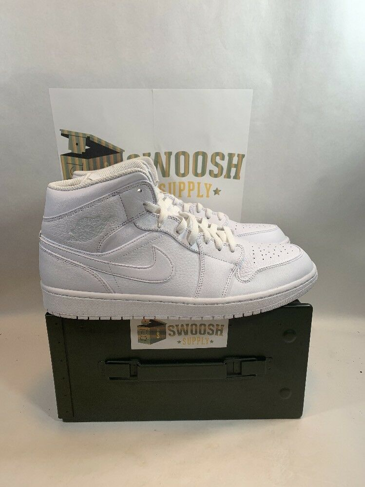 3444ad13a09 Nike Air Jordan 1 Mid TRIPLE WHITE PURE PLATINUM 554724-109 sz 12  Nike   BasketballShoes