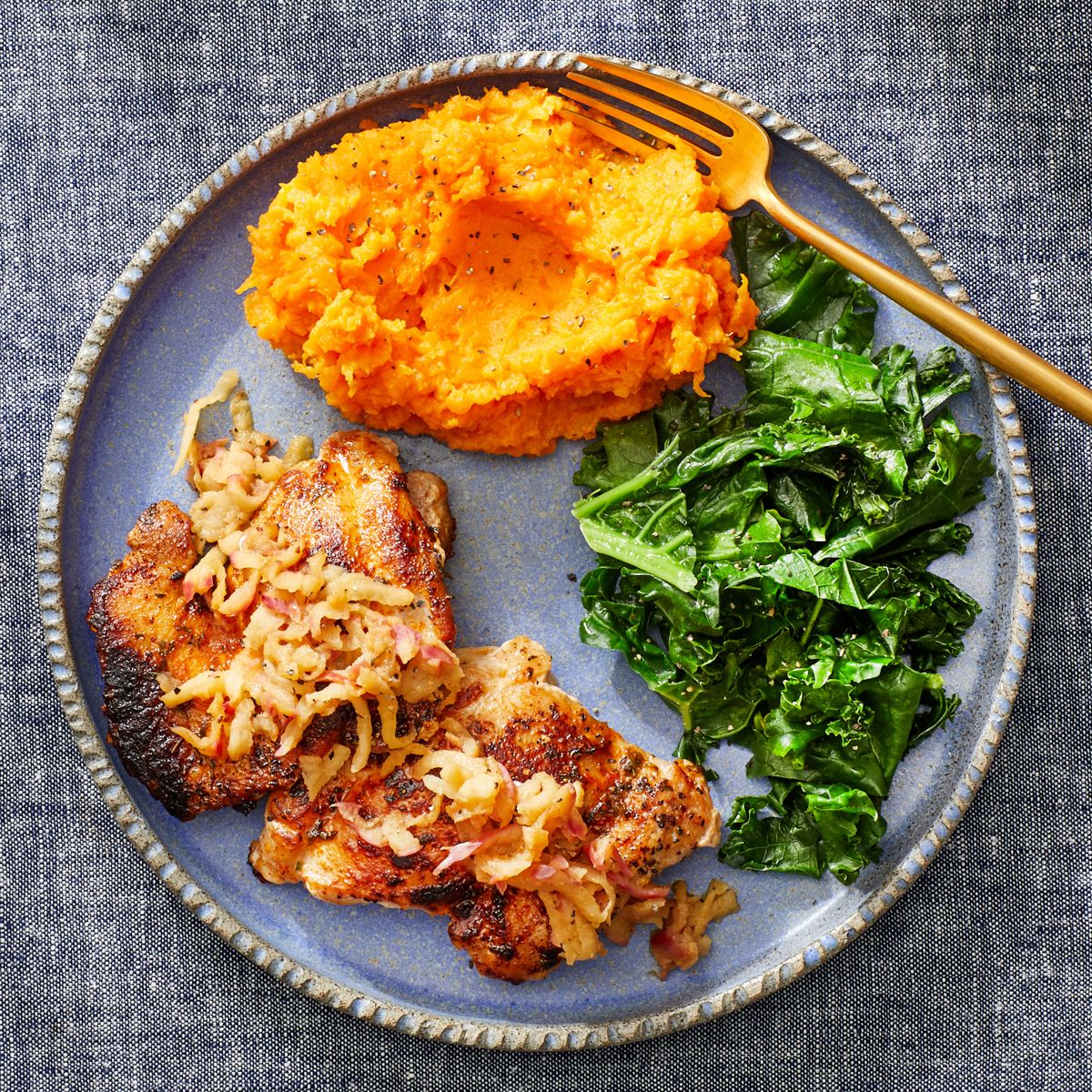 Seared Chicken Thighs Glazed Apple With Cheesy Mashed Sweet Potatoes Recipe Mashed Sweet Potatoes Sweet Potato And Apple Sweet Potato
