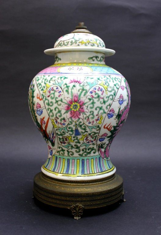 Old Chinese Porcelain Vase Lamp Lot 20 P Chinese Porcelain