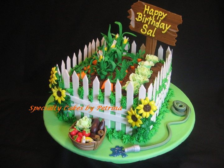 Garden cakes vegetable garden cake hage kaker for Vegetable garden cake ideas