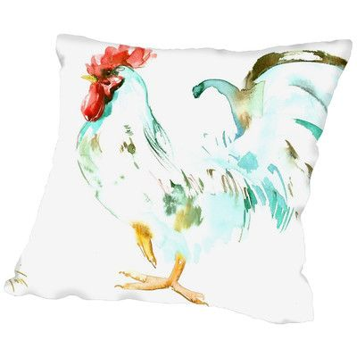 "August Grove Suren Nersisyan Lee White Rooster Throw Pillow Size: 16"" H x 16"" W x 2"" D"