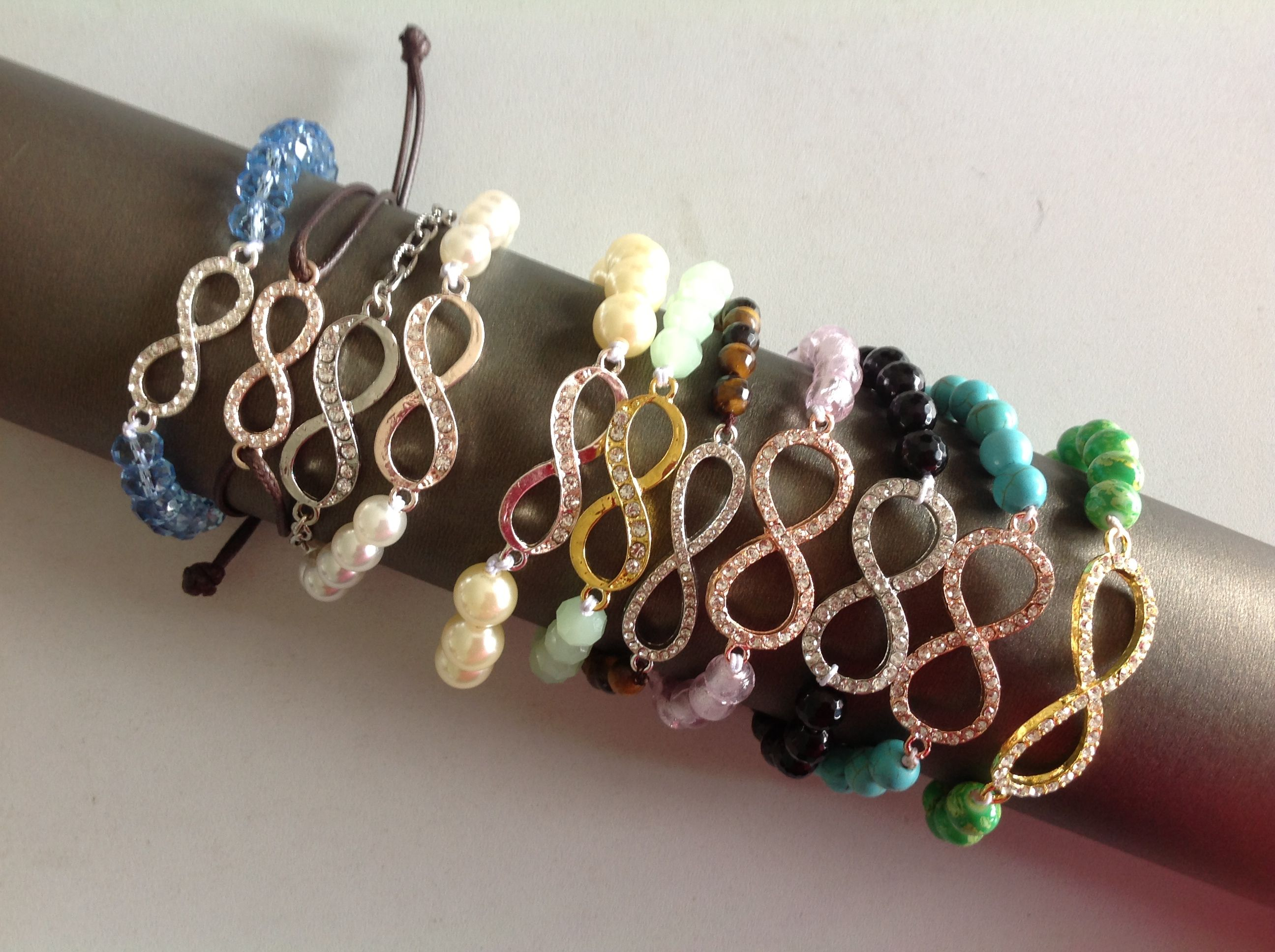 Hot fashion crystal Infinity stretch beaded bracelet