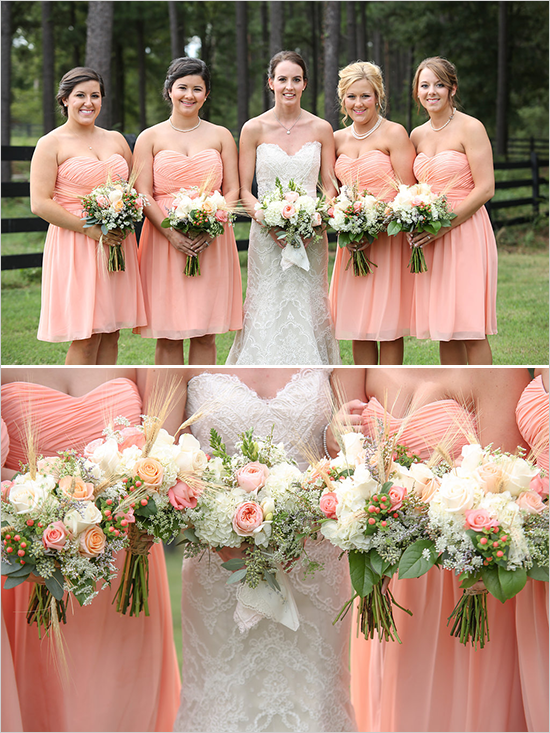 Peach And White Nostalgic Wedding Bridesmaids Pinterest