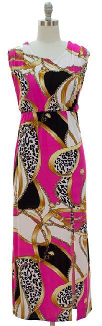 Sexy Fuschia vibrant multi colored side slit Maxi Long Dress X-LARGE