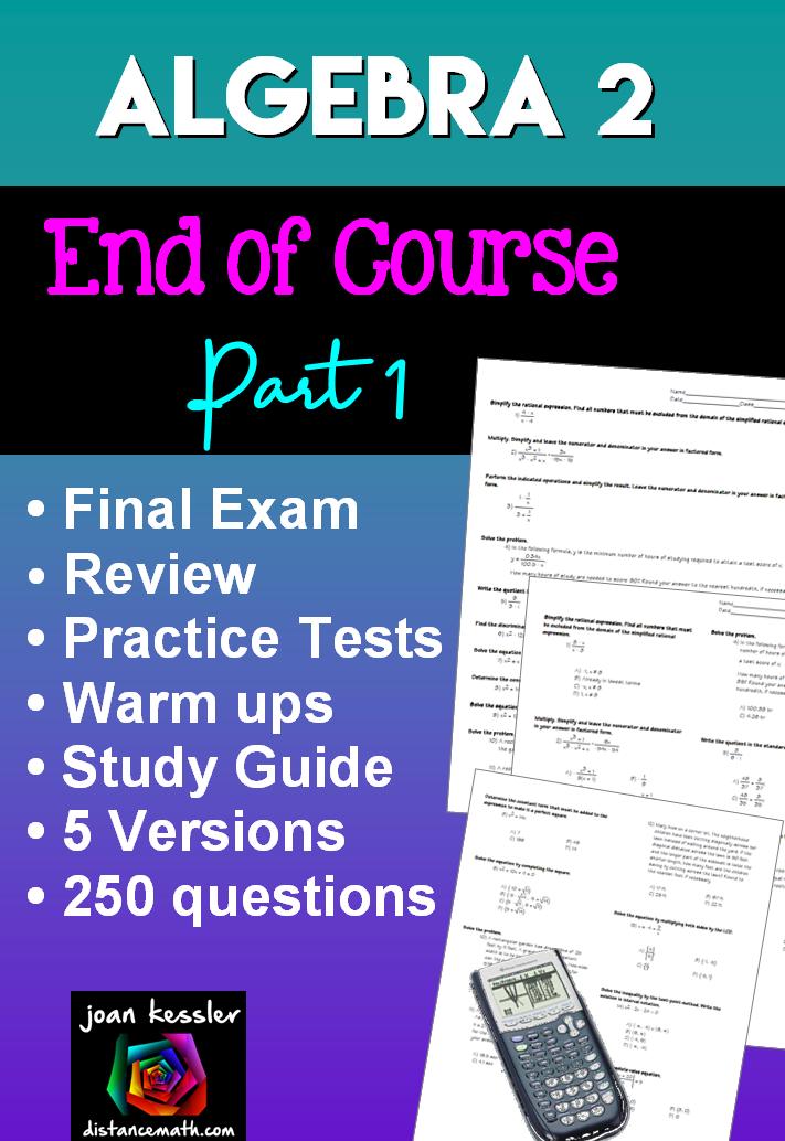 Algebra 2 College Algebra Final Exam or Review | Distance ...