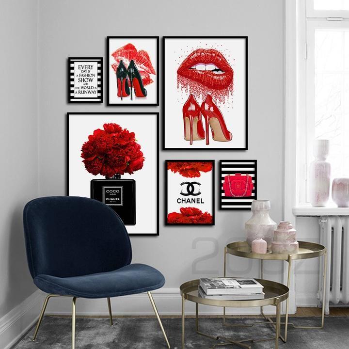 Fashion paris perfume red lips flower wall art in 2020