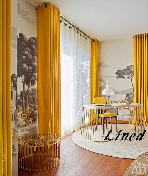 Lined Gold Yellow Velvet Blackout Custom Made Curtains All Size
