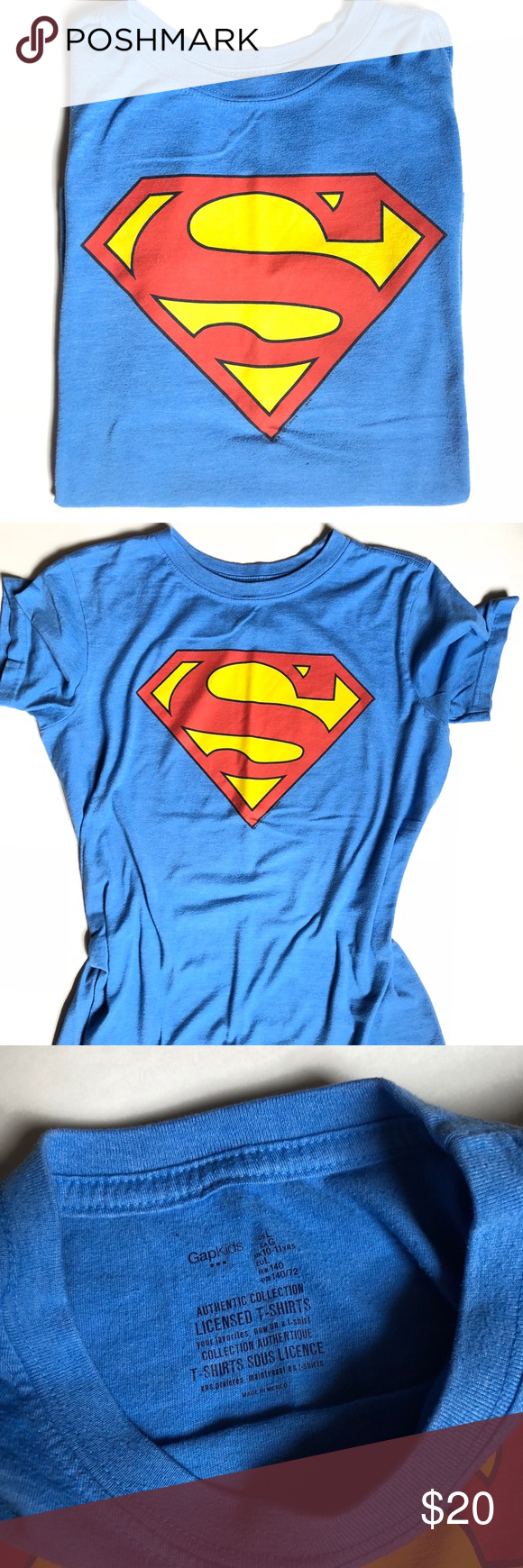 eb95aca7 Vintage Superman T-shirt Blue vintage Superman Gap T-shirt. Has that soft  vintage feel. Fits a ladies s/xs or a men's xxs. Back to school wardrobe!