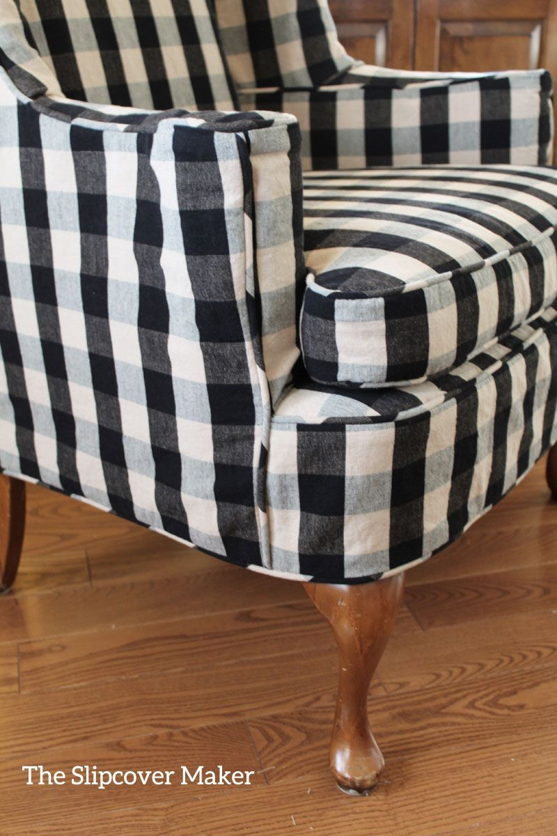 buffalo check sofa cover l shaped designs pune wing chair slipcover in judy s cotton tailored to fit a worn loved furniture
