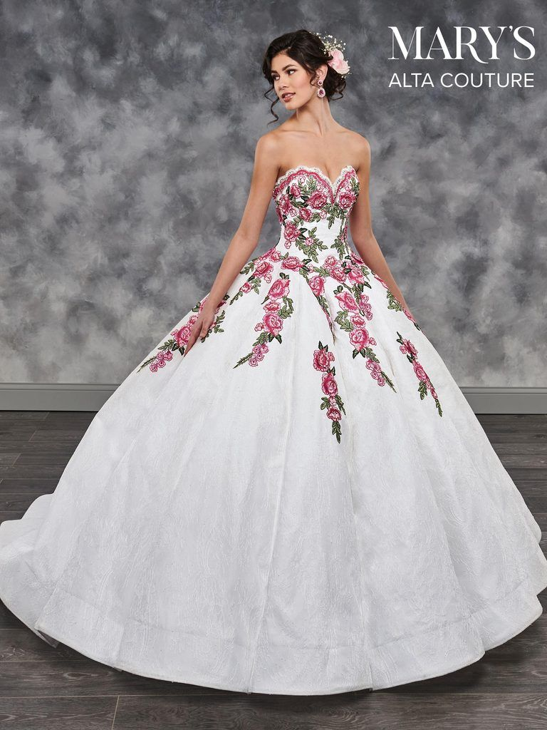 Floral lace strapless quinceanera dress by alta couture mq in