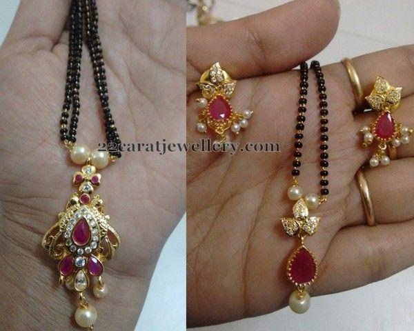 1500 Rupees 1 Gram Gold Black Beads Sets