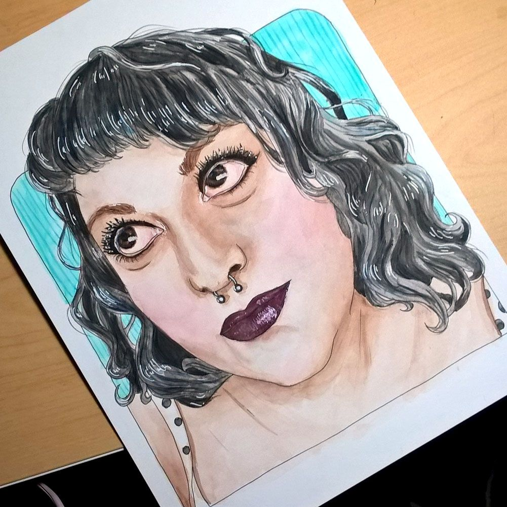 self portrait, ink, watercolor and colored pencil by JaimeShive