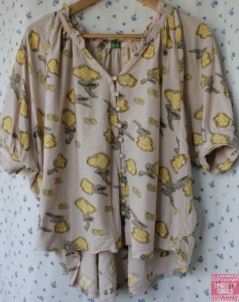Anthropologie Ett Twa S Boxy Oversized Hi Lo Floral Blouse Top