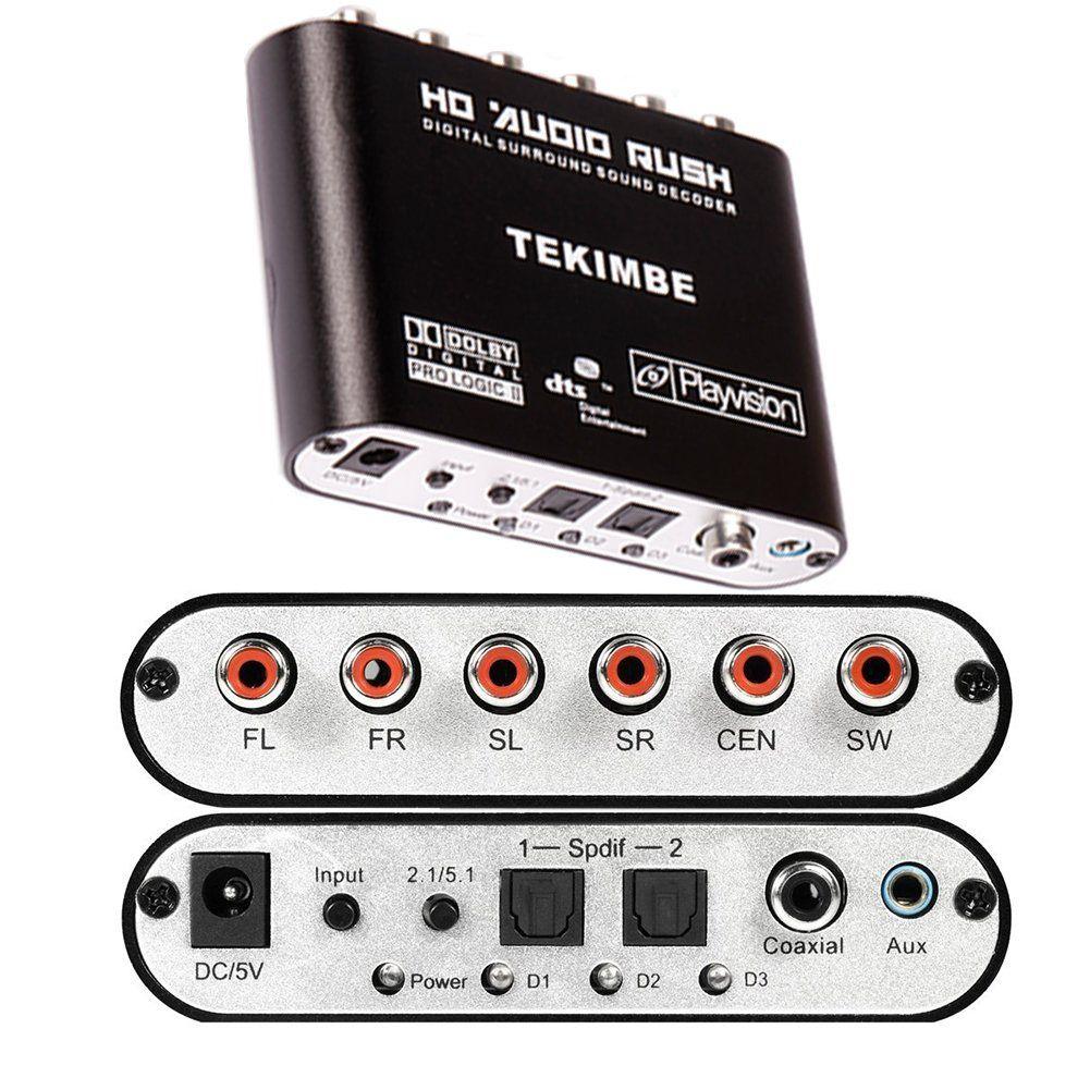Tekimbe 2016 New Hd Audio Rush Digital Audio Gear Decoder Converter Surround Sound Decoder Lpcm To 5 1 Analog Output 2 1 Dvd Pc Digital Audio Audio Converter