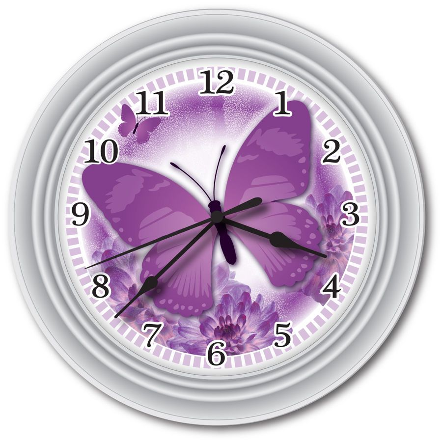 new purple butterfly wall clock - office kitchen bathroom bedroom