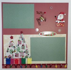 Handmade Traditional Scrapbook Page Layout Merry Christmas. www.icanscrap4u.com
