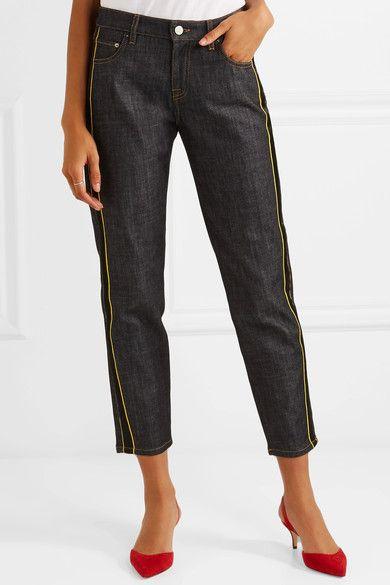 Satin-trimmed Cropped Mid-rise Straight-leg Jeans - Dark denim Victoria Beckham FV3q8xp3CU