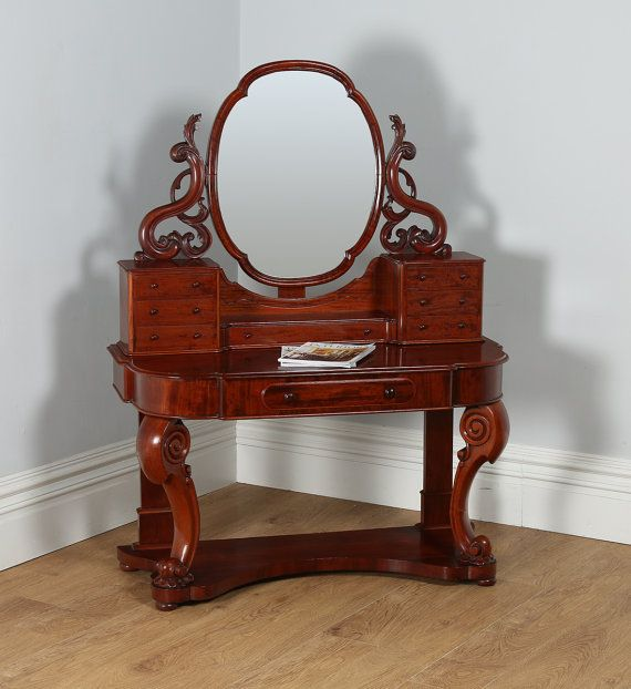 ~ Antique English Figured Mahogany Victorian Duchess Dressing Makeup Table w/ Mirror ca. 1870 ~ etsy.com   Antiques & Silverware II   Dressing