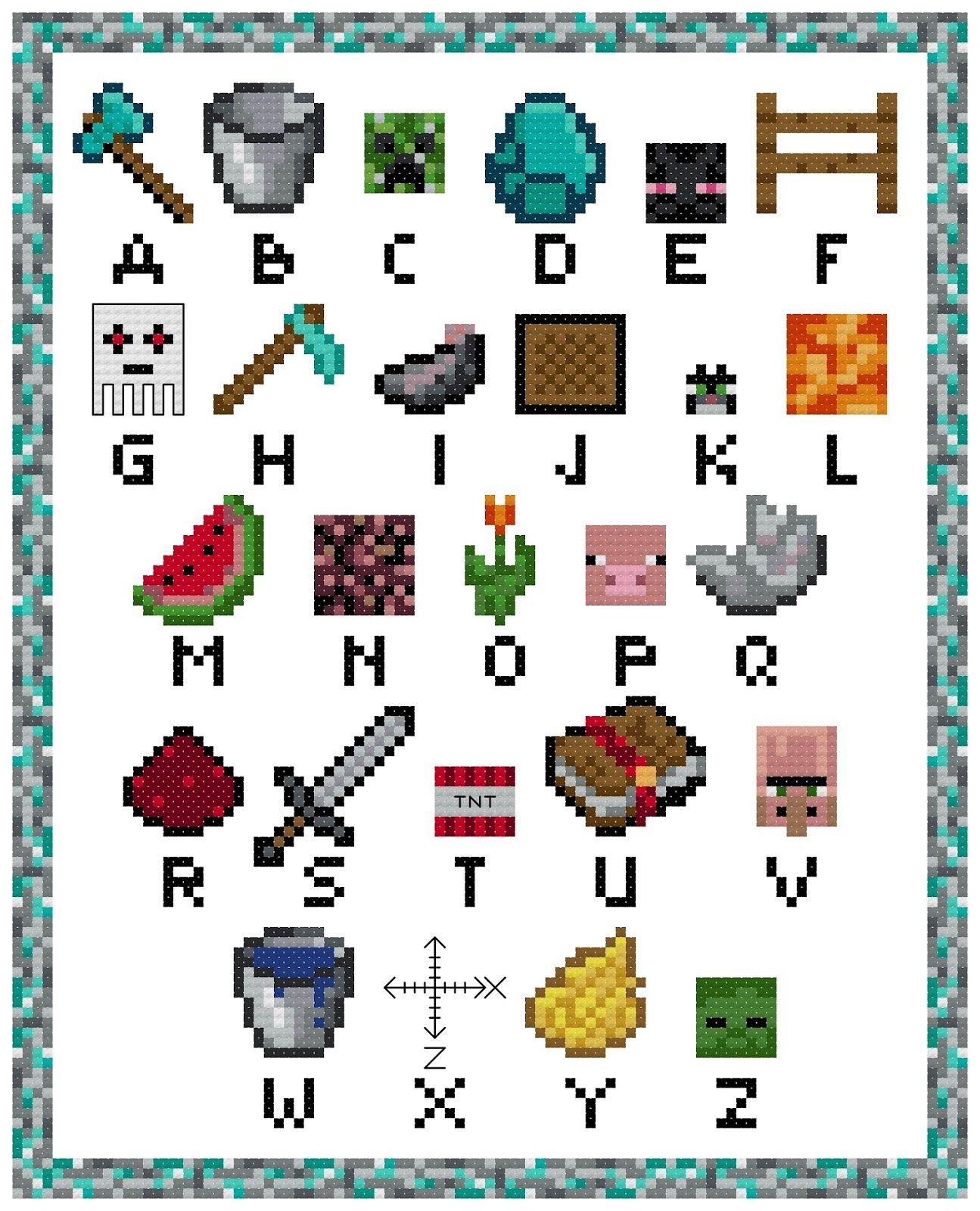 схема вышивания крестиком на тему майнкрафт #2