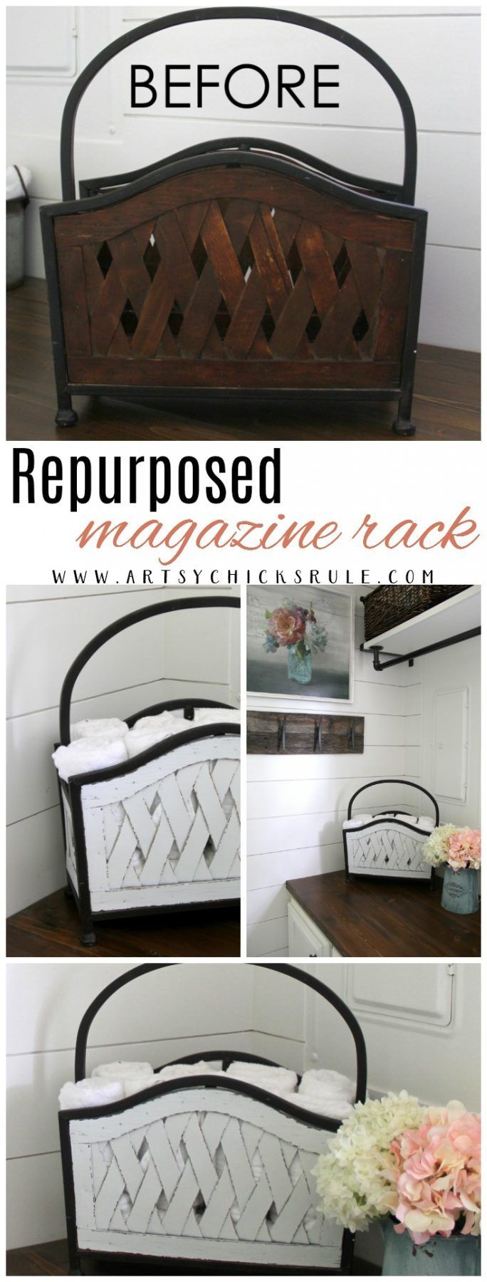Repurposed Magazine Rack (several uses!!) Repurposed