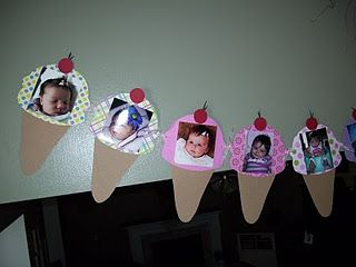 Ice cream cone first birthday banner. A picture for every month of baby's first…