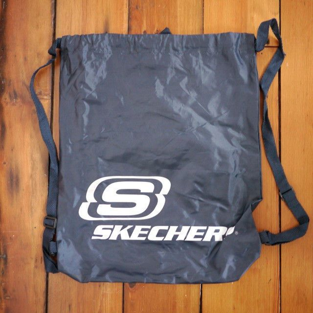 NEW SKECHERS Navy Blue Nylon Drawstring School Book Bag Gym Backpack Rucksack