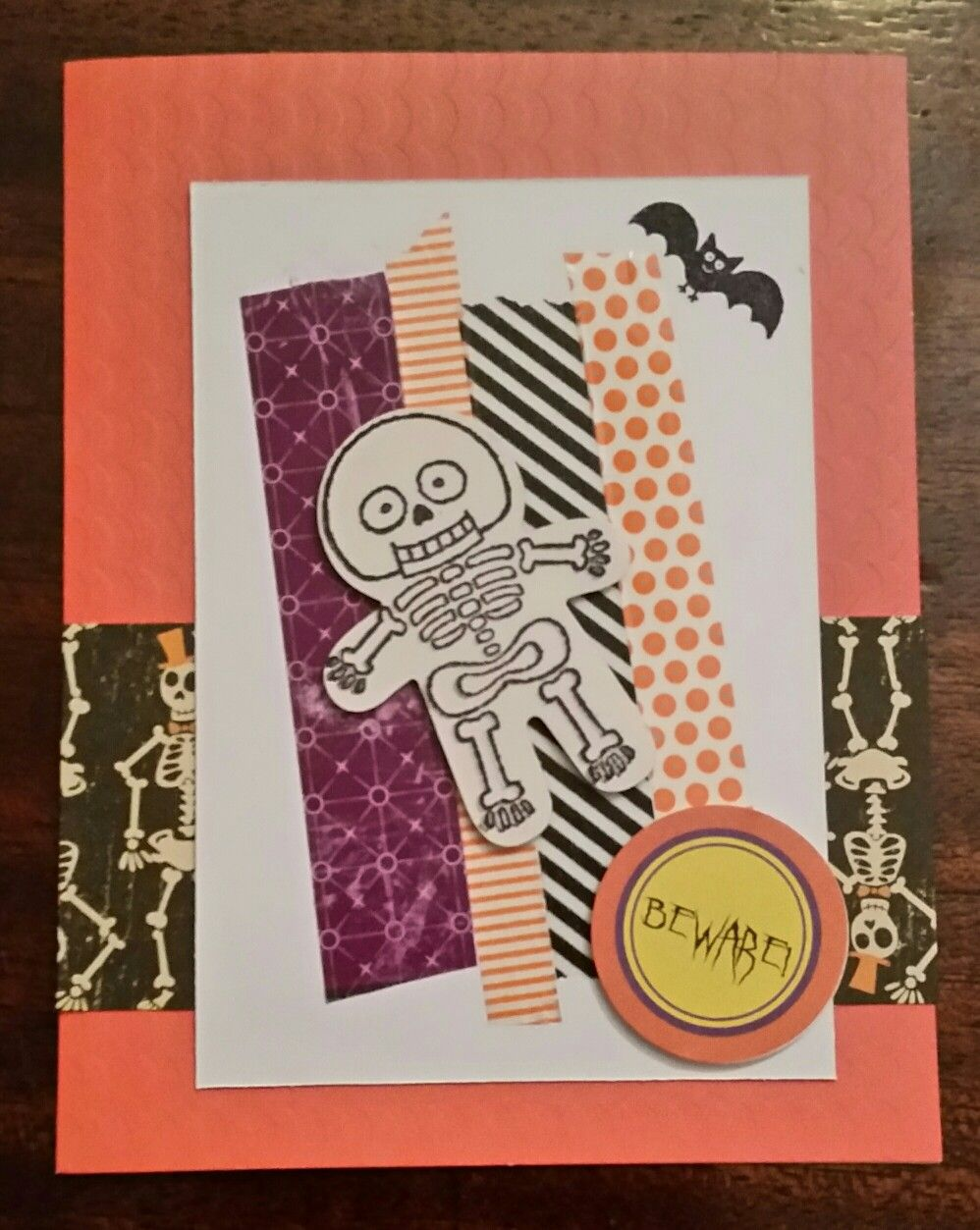 Halloween skeleton card stamping up and washi tape