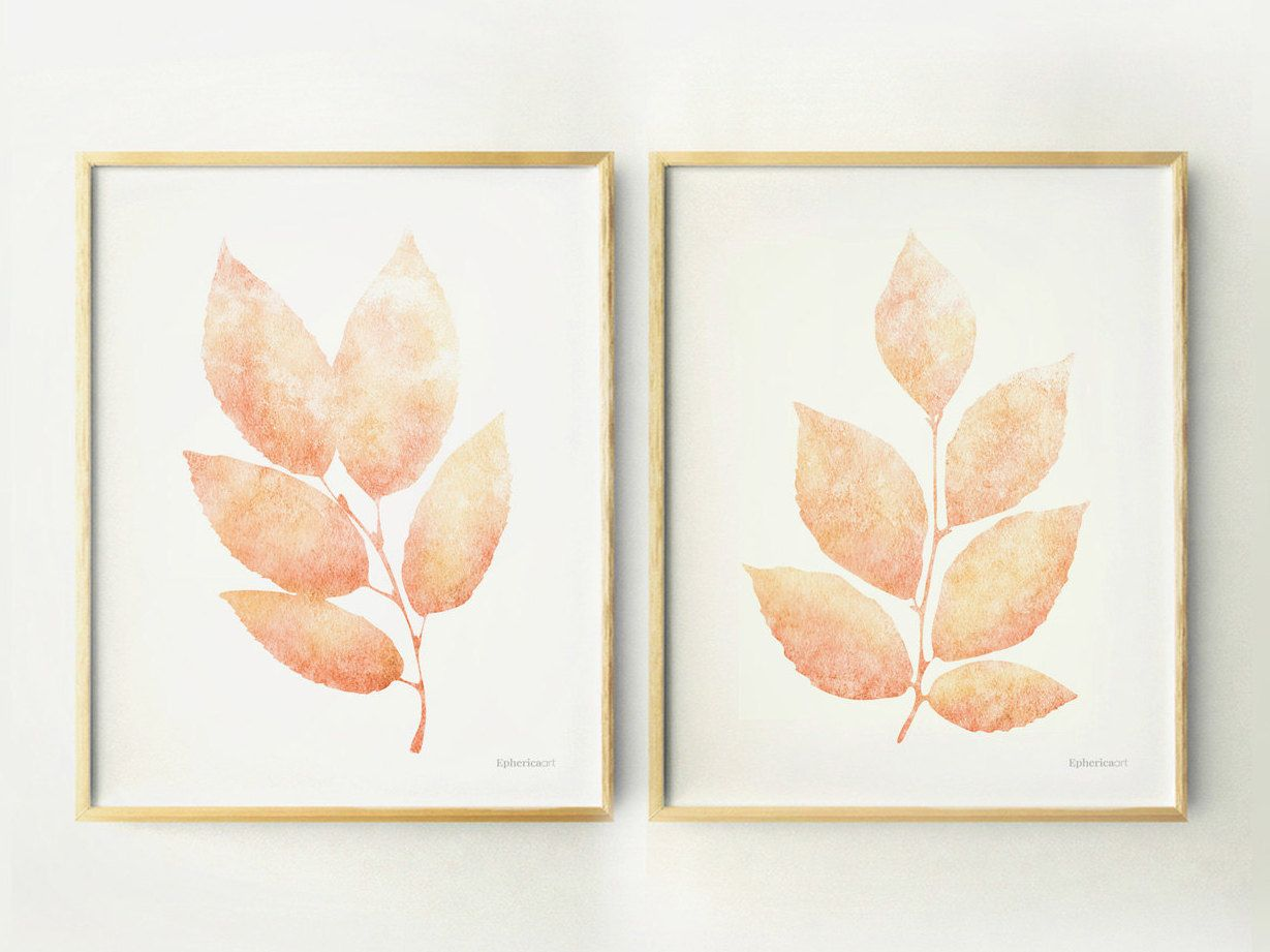 Prints For Wall Decor : Peach leaves printable wall posters diy home decor art