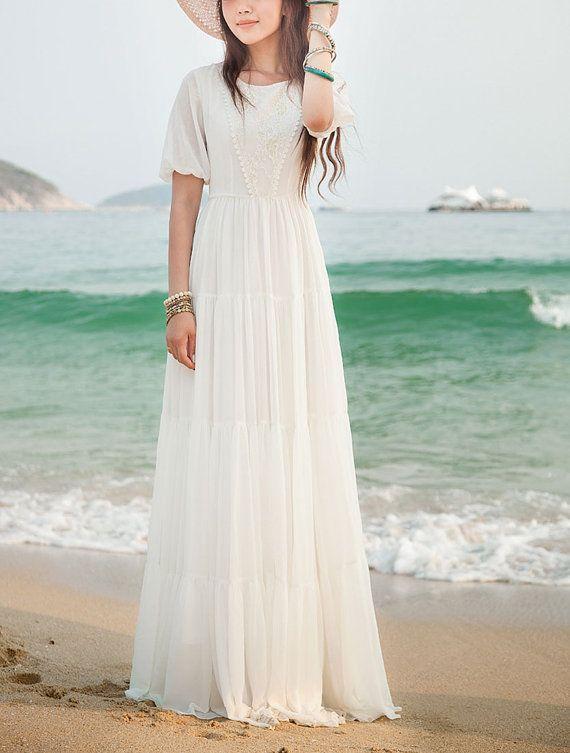 f08a309bb8c6 White Maxi Dress with Lace Details - Short Sleeve Maxi Dress - White  Chiffon Maxi Dress
