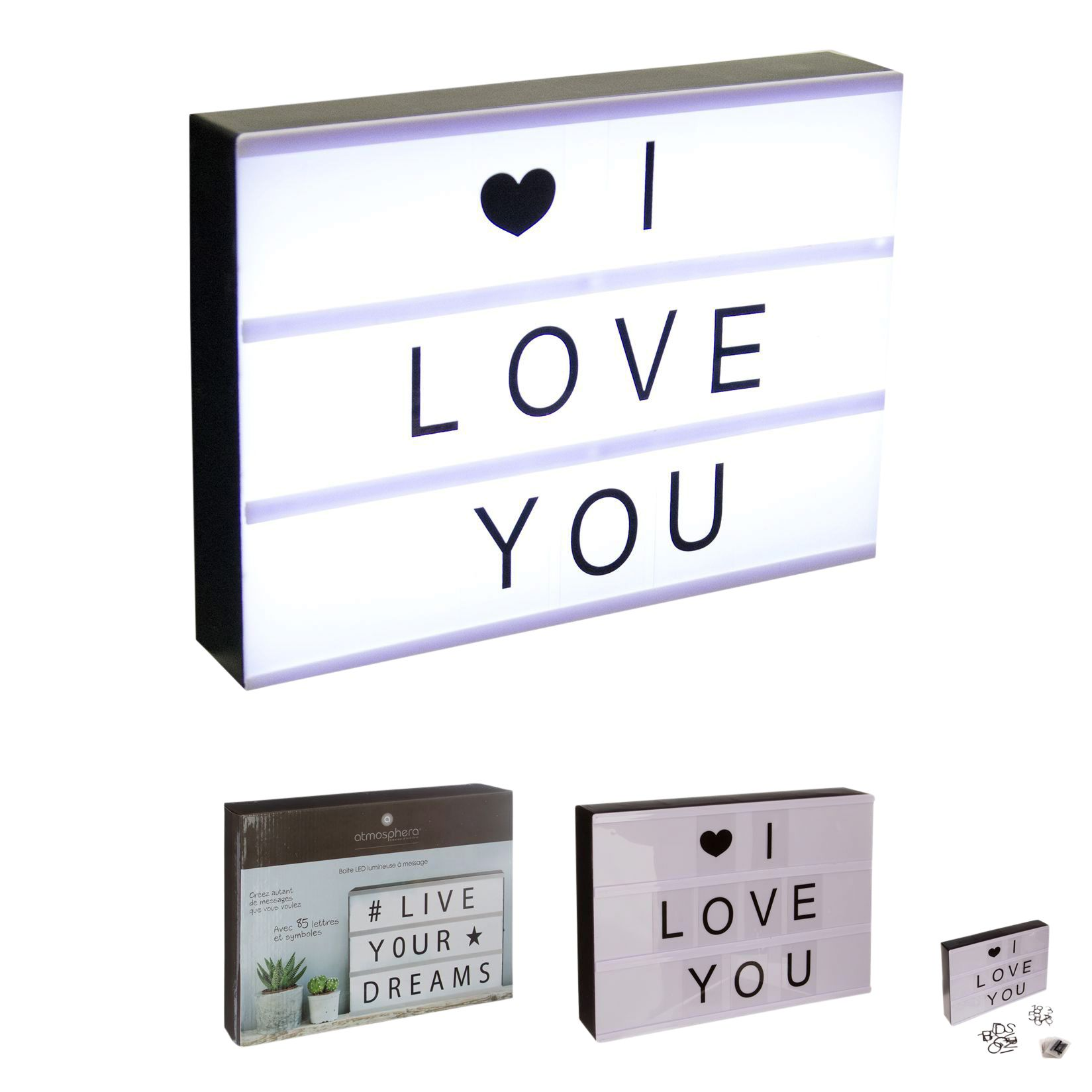 objet lumineux boite lumineuse blanc noir boite lumineuse petit mot et boite. Black Bedroom Furniture Sets. Home Design Ideas
