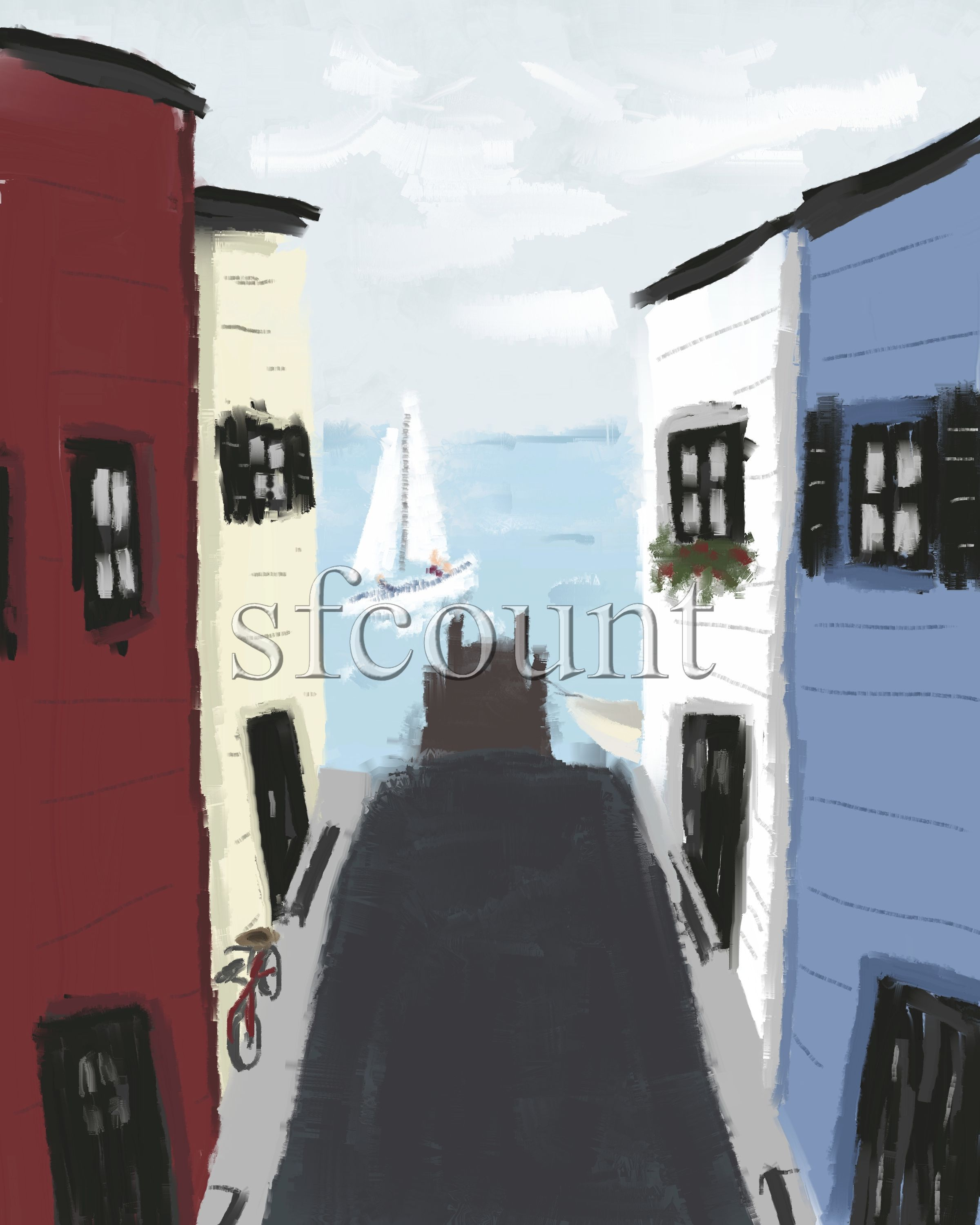 Seaside - digital oil on canvas