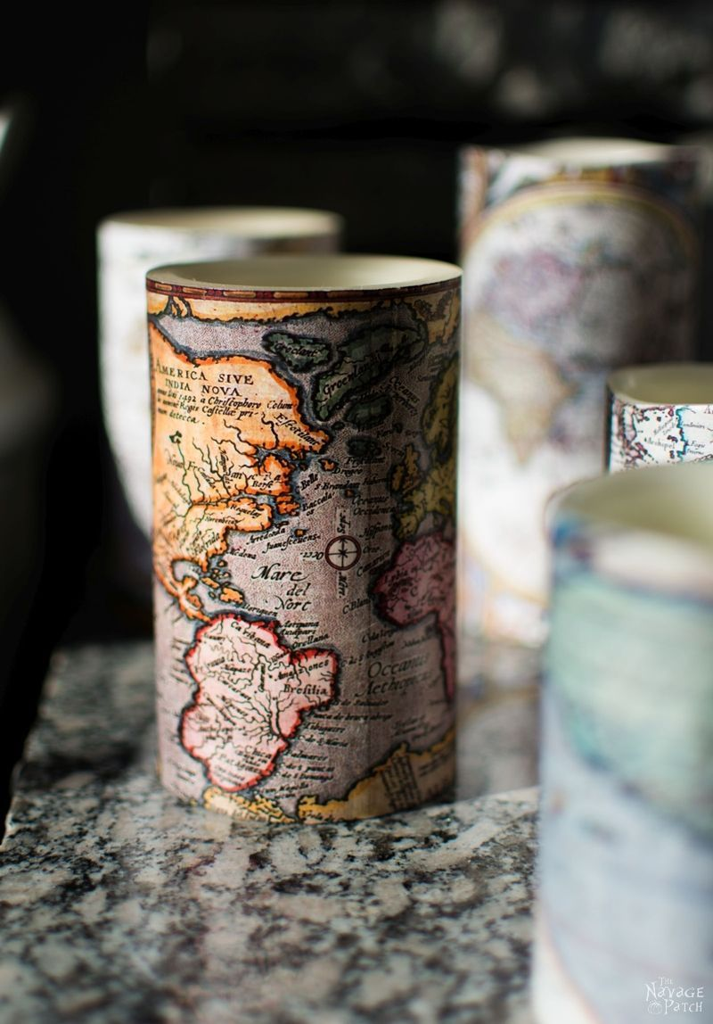Antique World Map Decoupaged Candles {With Free Printable Antique Maps} | How to decoupage | Free printable old maps | Free printable decoupage paper | Before & After | DIY nautical home decor | Step-by-step decoupage video tutorial | TheNavagePatch.com