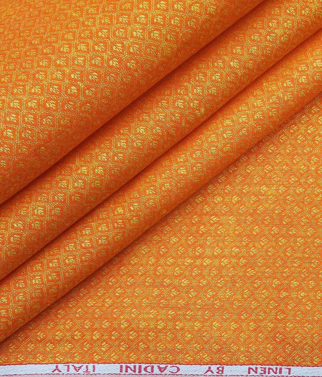 Cadini Italy Orange 100 European Linen 60 Lea Floral Jacquard Shirt Fabric 1 60 M European Linens Jacquard Shirt Fabric