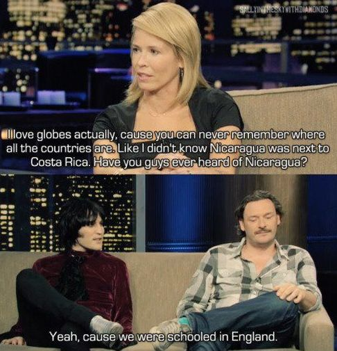 When The Mighty Boosh Schooled Chelsea Handler On Geography Funny Memes Comebacks Funny Comebacks Comebacks Memes